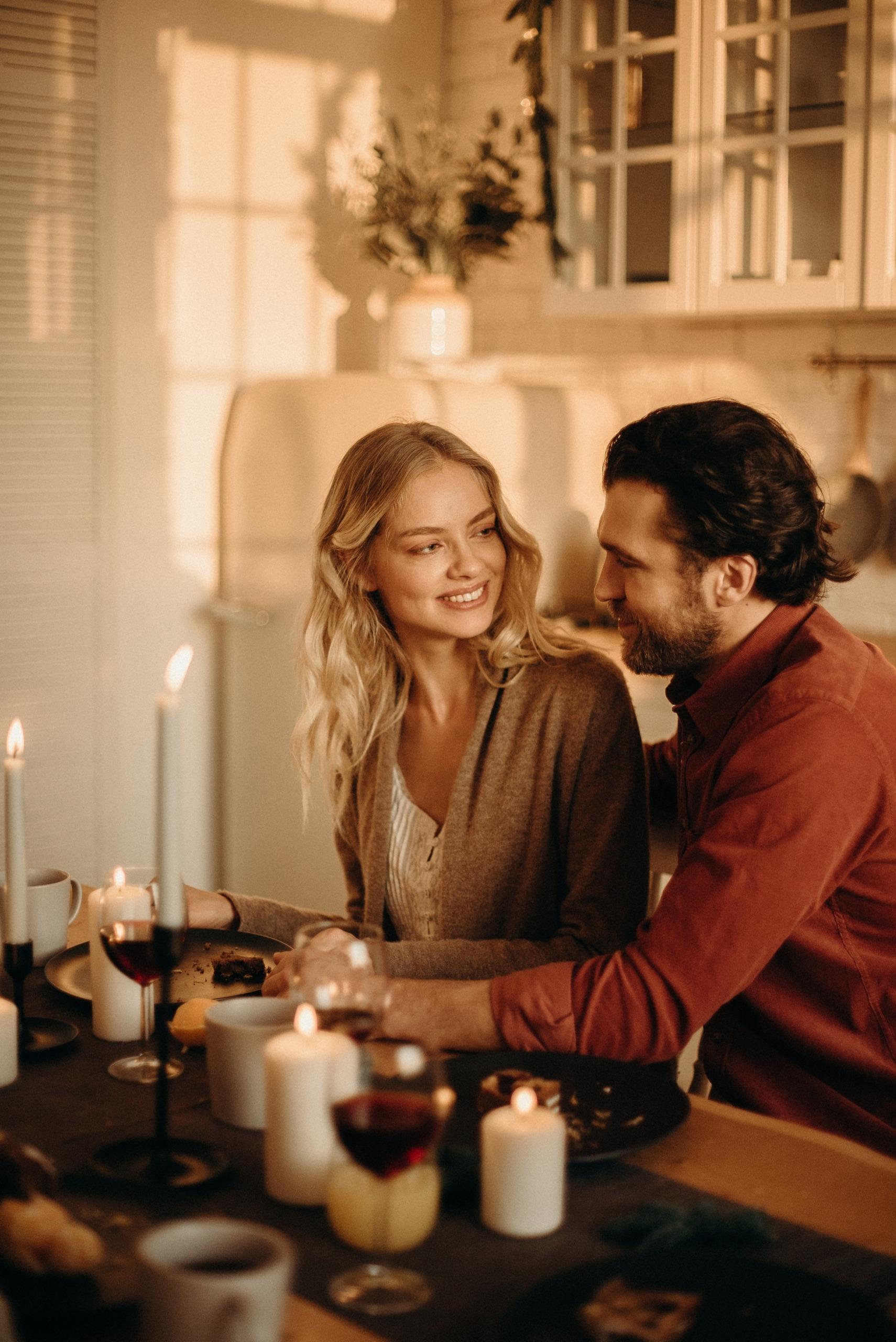 Candle-lit dinner romantic