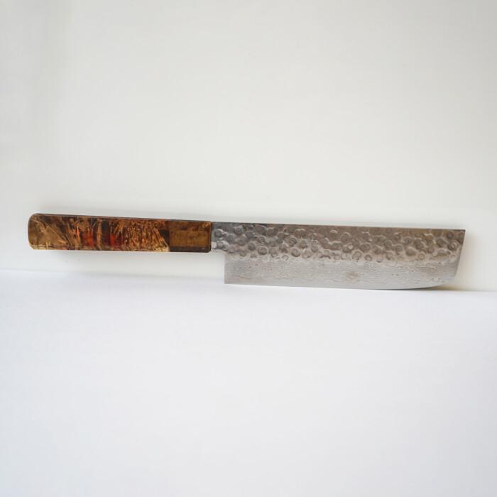 Sakai Kyuba – Vegetable Knife – The Nakiri with Natural Brown handle on white background