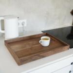 Large Walnut Tray on kitchen countertop