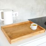 Large Oak Tray on kitchen countertop