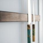 Wall Mounted Magnetic Wood Knife Rack - Walnut Steel Macro