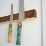Wall Mounted Magnetic Wood Knife Rack - Walnut Brass Knives