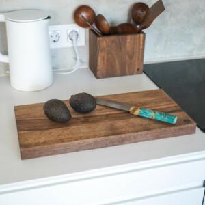Dark Walnut Kitchen Cutting Board- Large- with Sakai Kyuba Gyuto Japanese knife