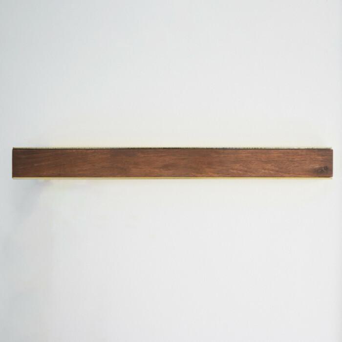 Wall Mounted Magnetic Wood Knife Rack - Walnut Brass 50