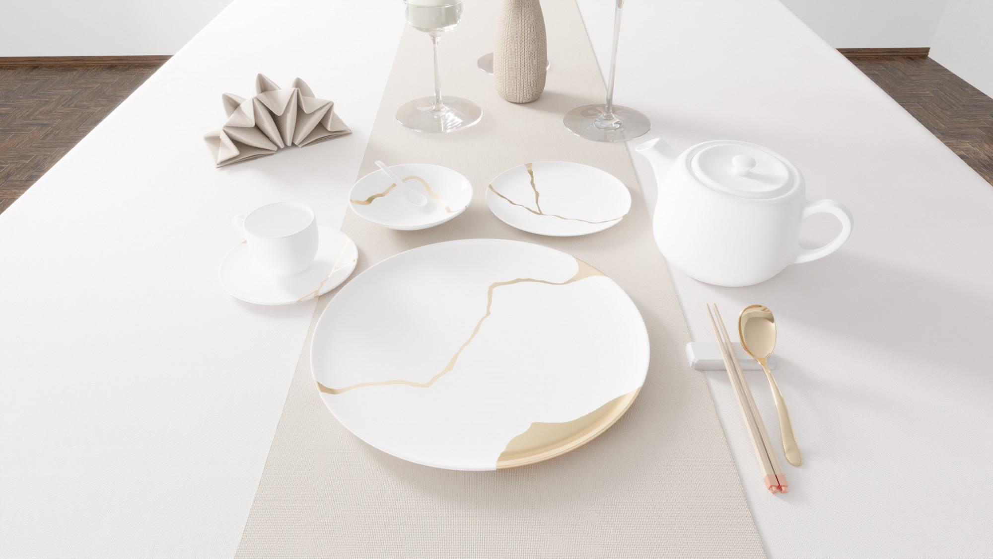 Kintsugi Collection Fine Bone China Porcelain all white