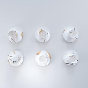 Kintsugi Collection Fine Bone China Porcelain Tea Cups (inc. Plates) – Set Of 6- White Background