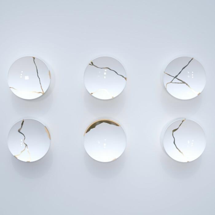 Kintsugi Collection Fine Bone China Porcelain Soup Plates – Set Of 6- White background