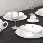 Kintsugi Collection Fine Bone China Porcelain Set - Plates, Tea Cups, TeaPot, Bowl