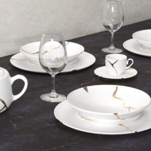 Kintsugi Collection Fine Bone China Porzellan Set - Teller, Teetassen, Teekanne, Schale
