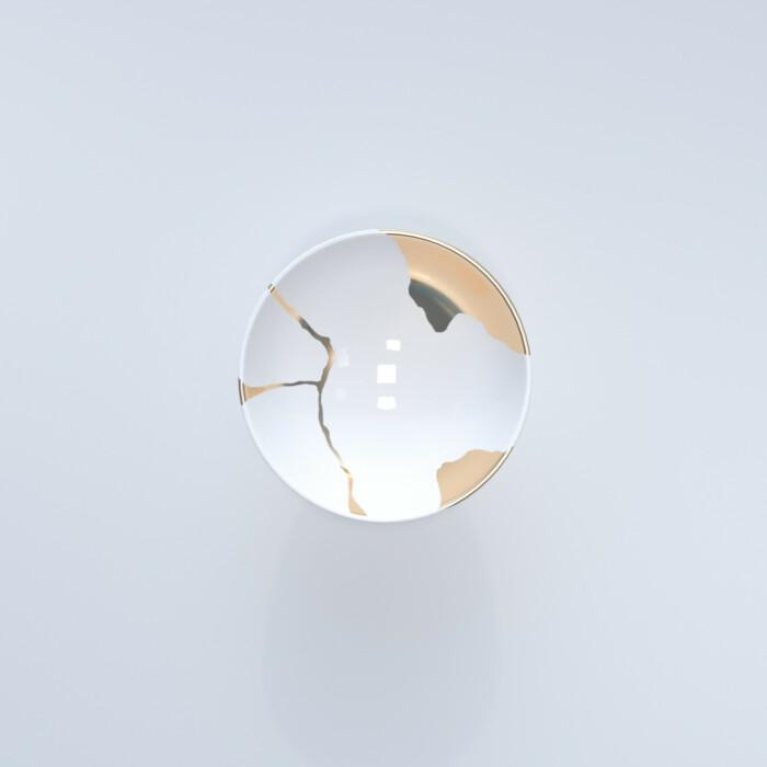 Kintsugi Collection Fine Bone China Porcelain Salad Bowl - White Background
