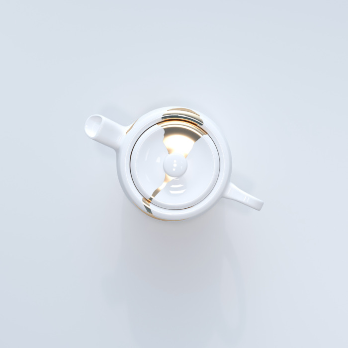 Kintsugi Collection Fine Bone China Porcelain Tea Pot - White background