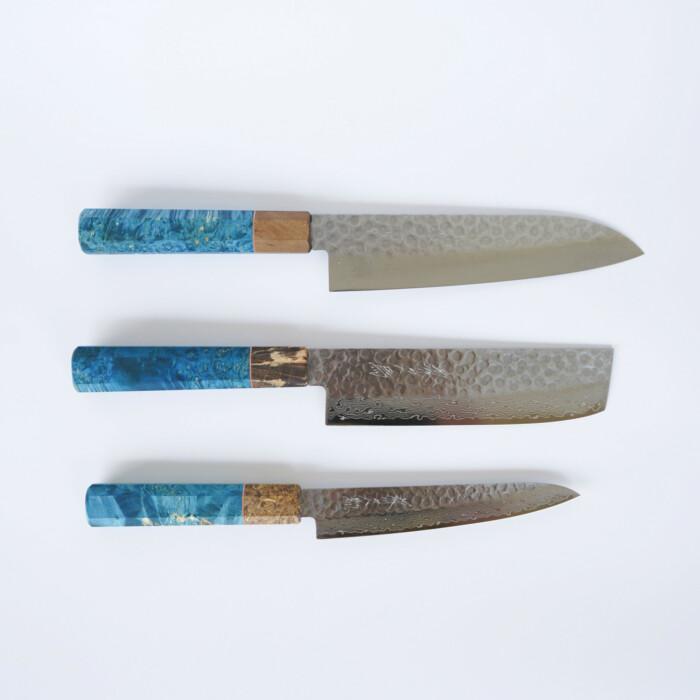 Sakai Kyuba – The Knife Set: Santoku, Nakiri, Petty – Mediterranean Blue