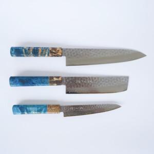 Sakai Kyuba- The Knife Set: Gyuto, Nakiri, Petty. Mediterranean Blue