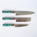 Sakai Kyuba The Knife Set: Gyuto, Nakiri, Petty – Olive Green