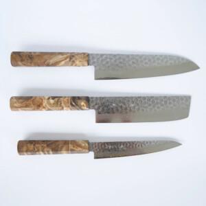 Sakai Kyuba – The Knife Set: Santoku, Nakiri, Petty – Natural Brown