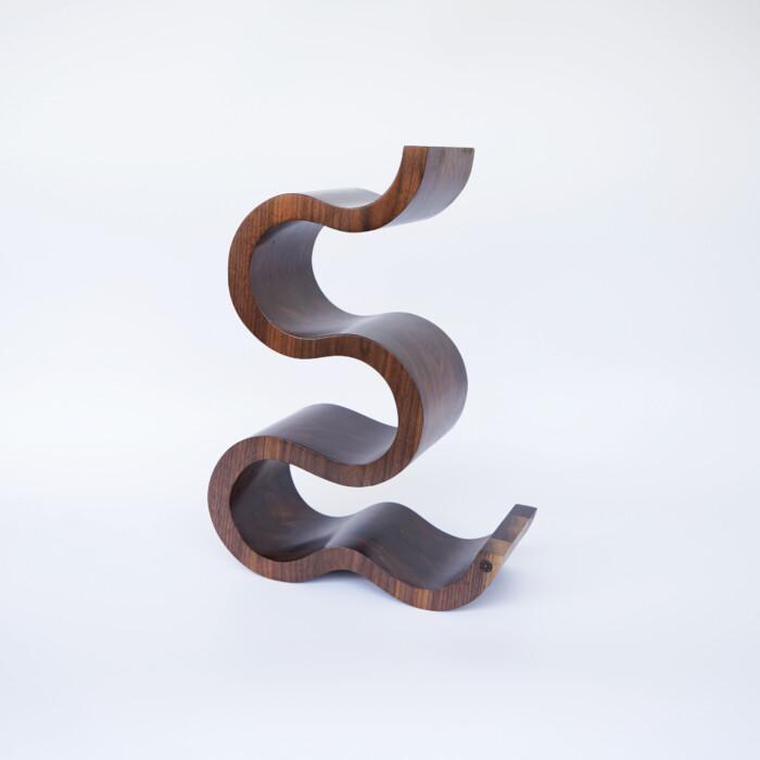 Wooden Wine Rack x 5 Bottles The Wave – Walnut