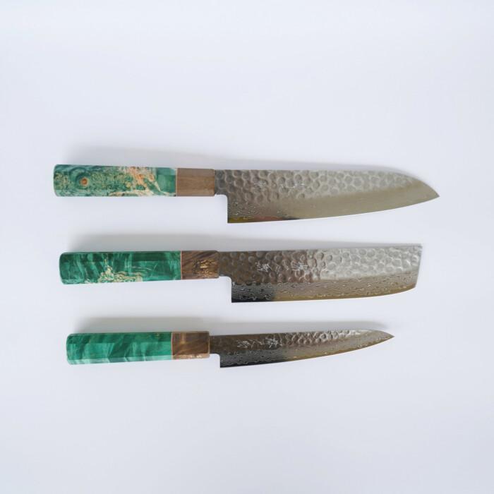 Sakai Kyuba – The Knife Set: Santoku, Nakiri, Petty – Olive Green