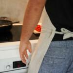 Kitchen Apron - Natural, worn by man tied